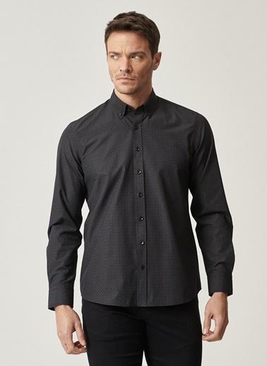 AC&Co / Altınyıldız Classics Tailored Slim Fit Dar Kesim İtalyan Yaka Baskılı Gömlek 4A2021100112 Siyah